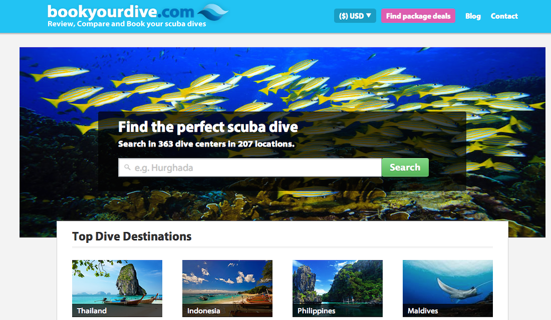 bookyourdive made by bluebrand